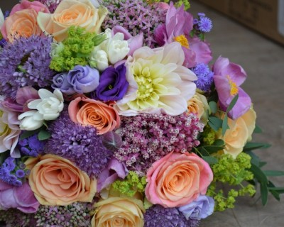 Bridal bouquet with summer flowers - East Sussex