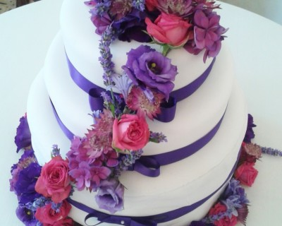 Pink and purple cake flowers