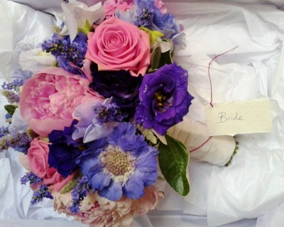 Bouquet with peonies, roses and lavender