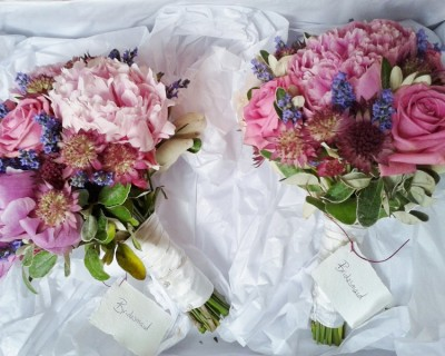Bridesmaids bouquets with peonies, astrantia and lavender