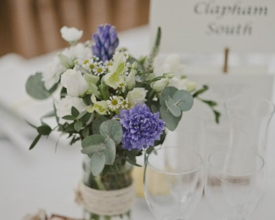 Table decoration with yellow and blue flowers - Horsham