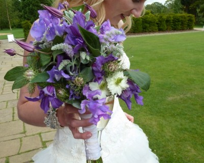 Purple wedding bouquets - Wakehurst Place, West Sussex
