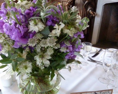 Purple wedding decorations - Wakehurst Place, West Sussex