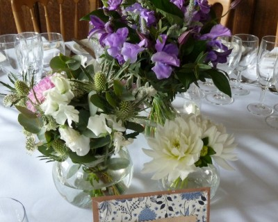 Purple table arrangements - Wakehurst Place, West Sussex