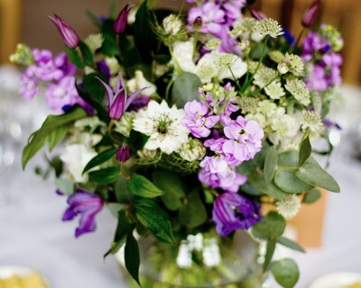 Purple centrepieces - Wakehurst Place, West Sussex