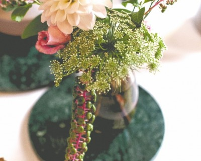 Vintage inspired wedding table centres
