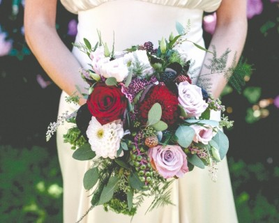 blush, dusky pink and burgundy bridal bouquet