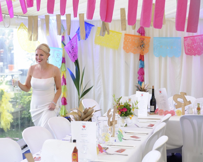 Tropical bright coloured wedding flowers