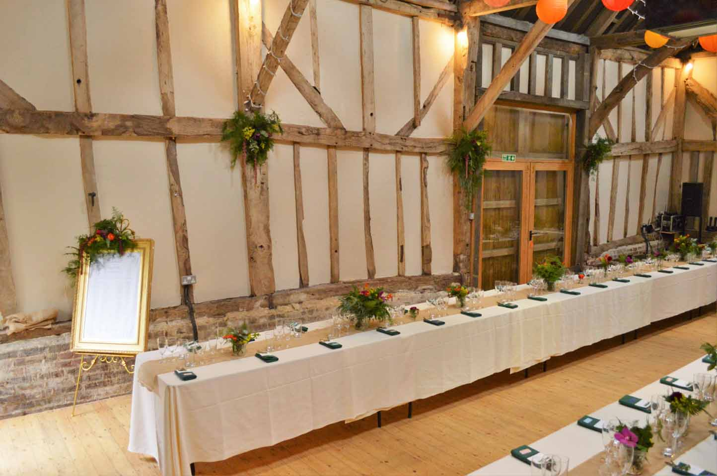 patricks barn wedding set up banquet table