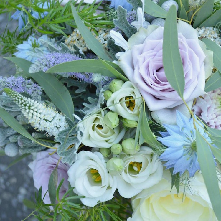 pastel bridal bouquet, nigella and roses for a august wedding flowers