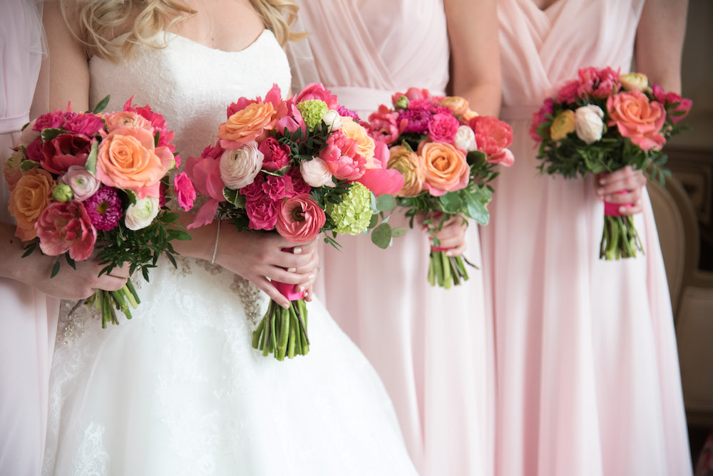bridesmaids bouquets, bright spring flowers