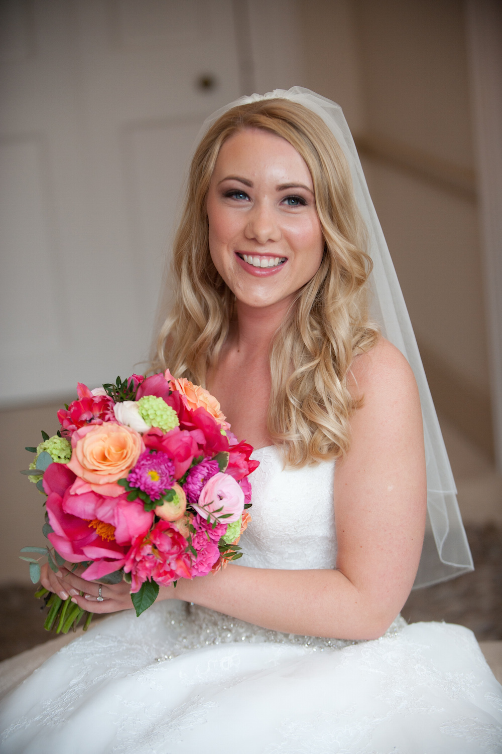 bright pink and peach bridal bouquet, nonsuch mansion