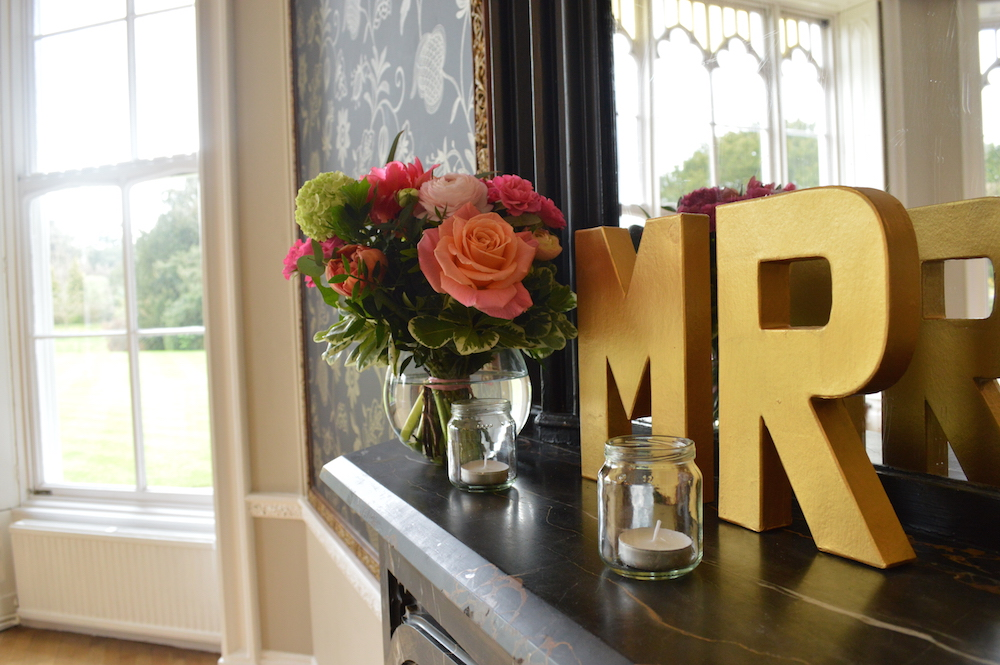 mantelpiece and mirror wedding decor at nonsuch mansion