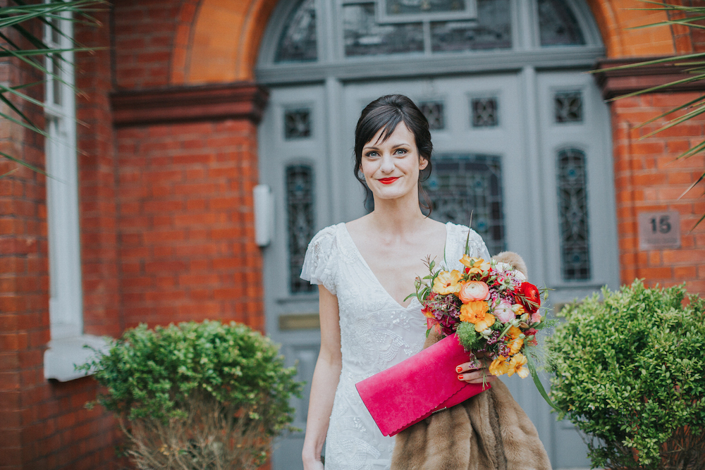 cool alternative bride, Brighton. Bright coloured bouquet by Bettie Rose