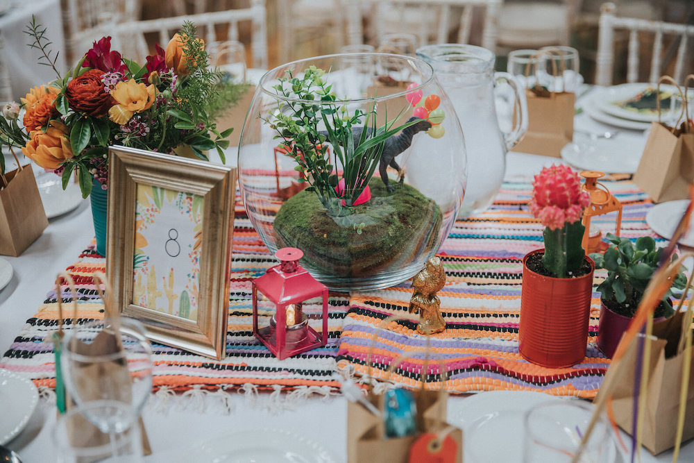 mexican blanket and wedding flowers