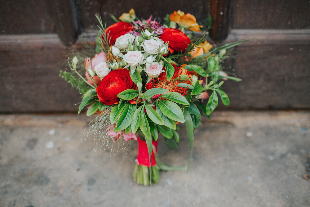 bright coloured brides bouquet by Bettie Rose in Brighton