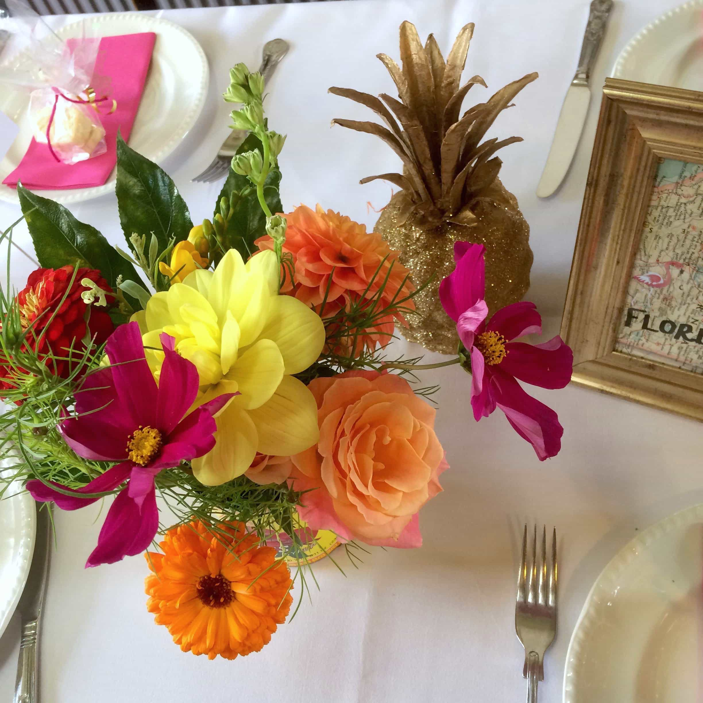 gold pineapple tropcial table flowers