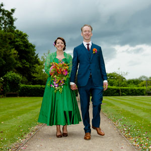 Phil & Katie GreenPurpleOrange 28th June Leatherhead registry office, Surrey