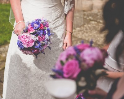 Bridal bouquet close up with summer flowers