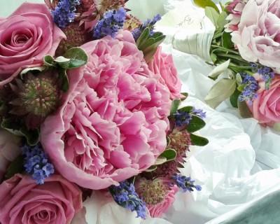 Bridesmaids bouquets with Sarah Bernhardt peonies