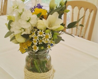 Yellow flowers centrepiece - West Sussex