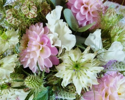 dahlia and sweet peas, pink bouquet, sussex