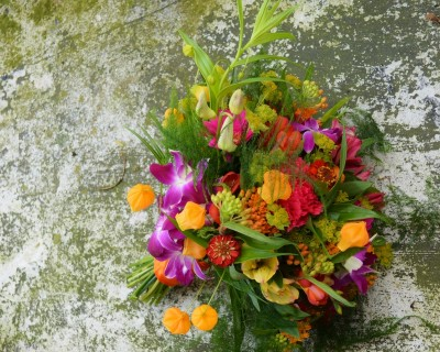 Brighto and colourful tropical Bridal bouquet Brighton.