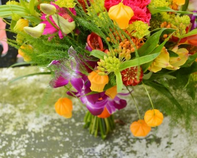 Tropical bridal bouquet. Colourful wedding flowers. Brighton.