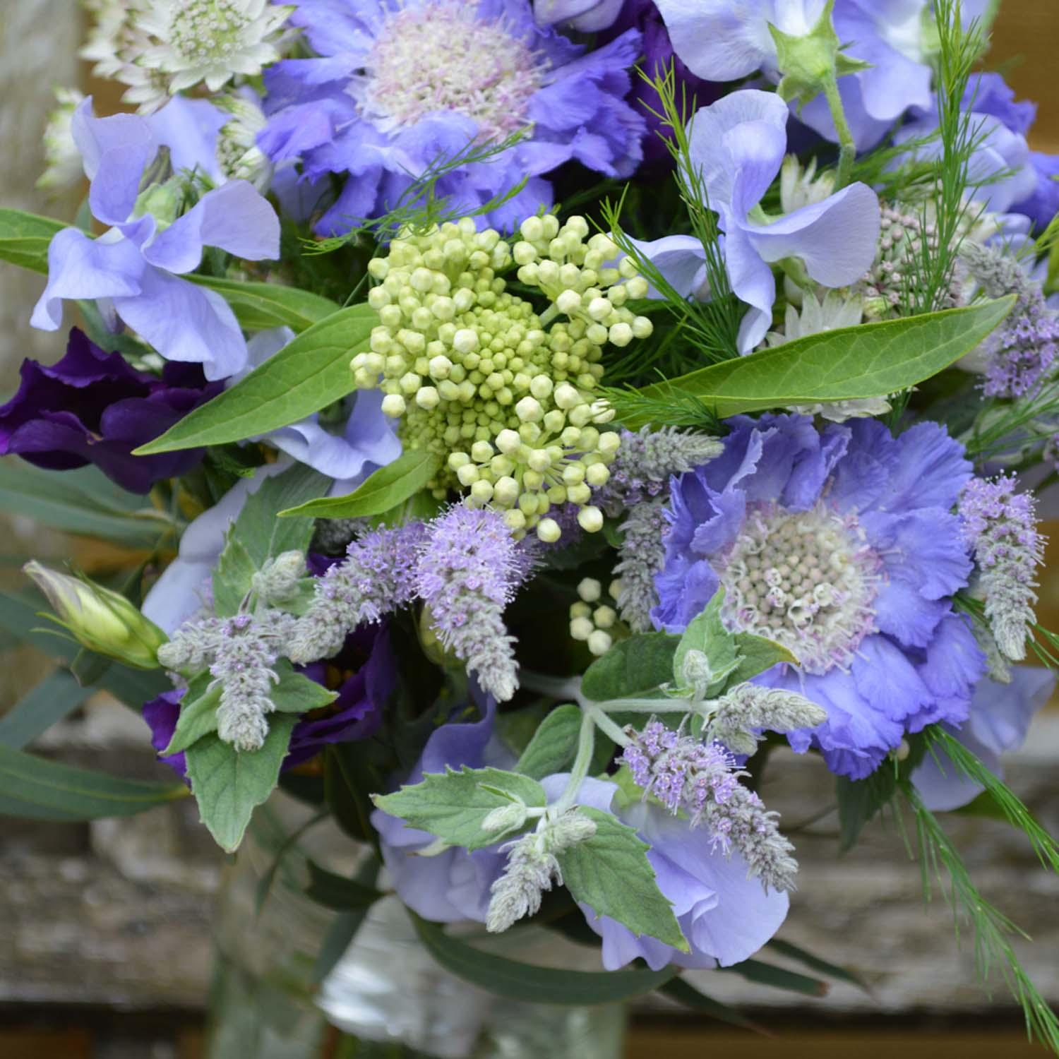 blue and lilac bridal bouquet