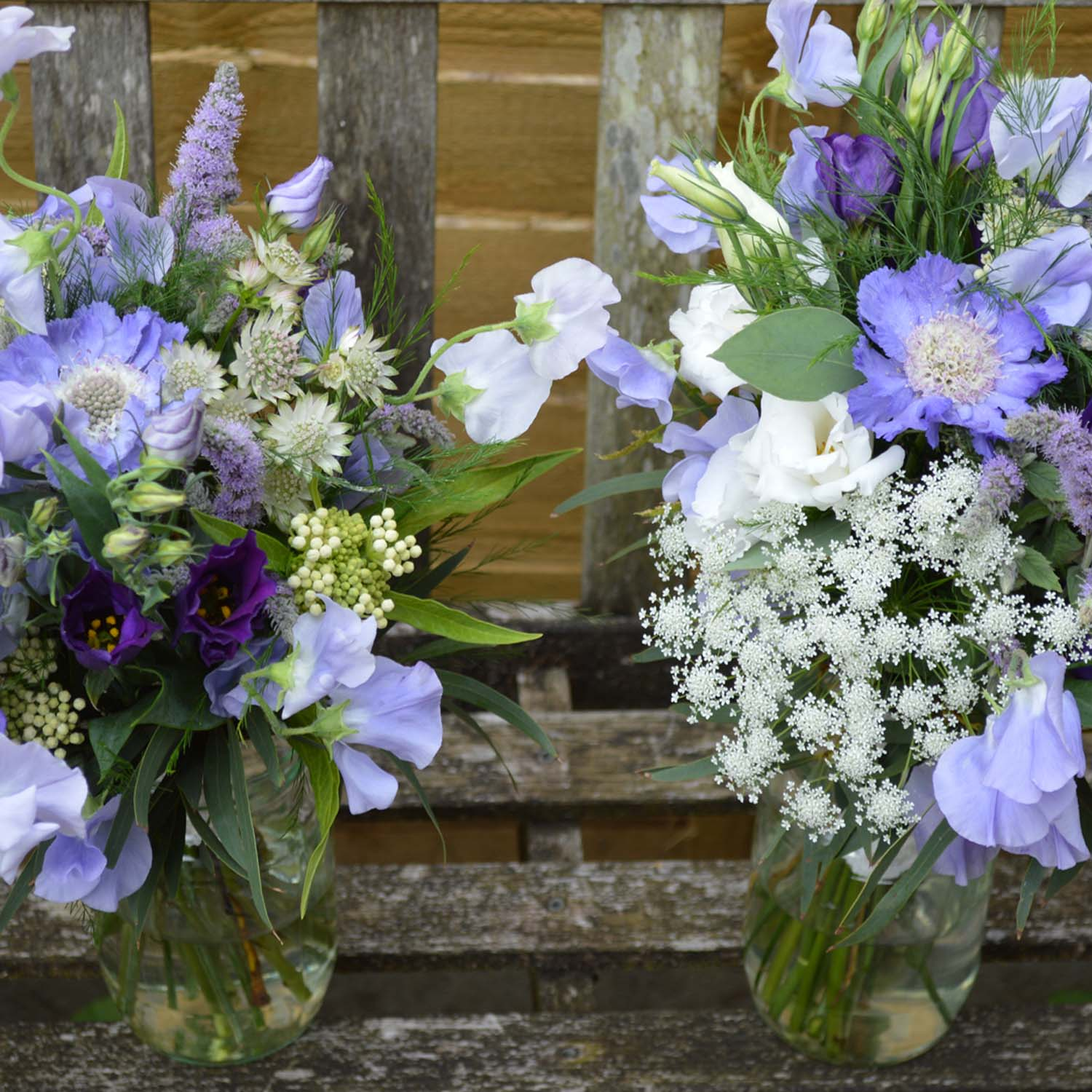 blue and purple bridesmaids bouquets