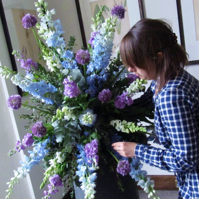 Blue wedding flowers, blue pedestal, blue wedding, delphinium pedestal, blue urn arrangement