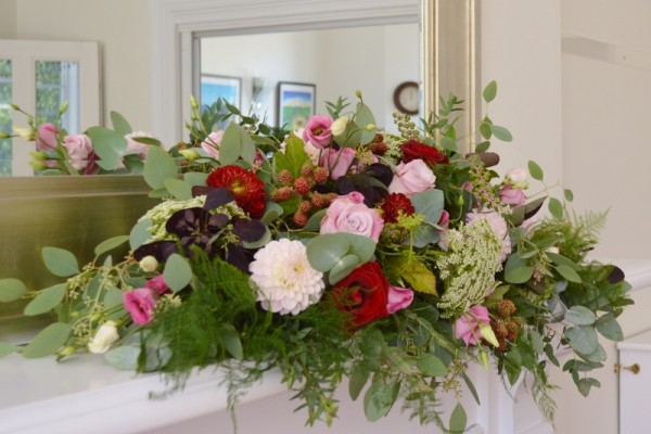 dusky pink and burgundy wedding flowers hove