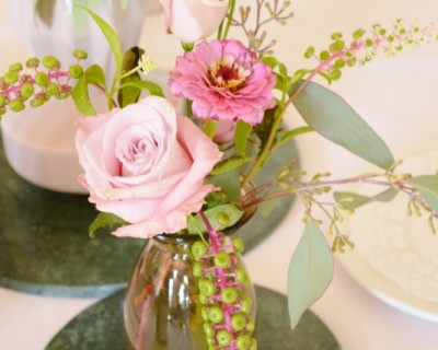 pink and green table flowers