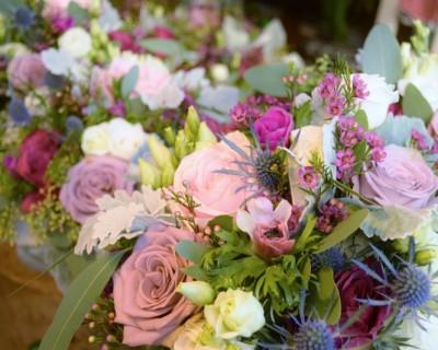 Winter dark pink bridal bouquet