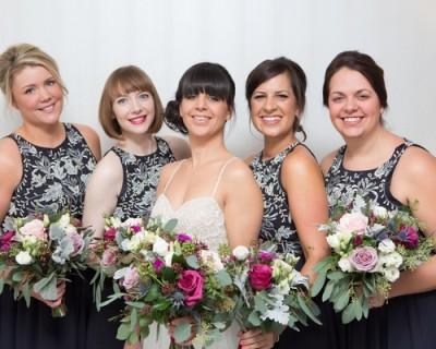 Bride and bridesmaids, November wedding colours