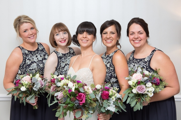 Bride and bridesmaids, November wedding colours