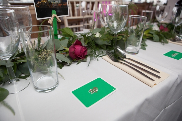 Foliage table runner, Brighton music hall, brighton wedding