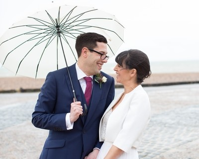 Bride and groom, Brighton seafront wedding, Brighton weddings