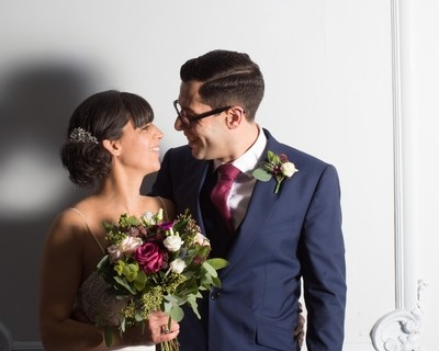 Bride and groom at winter wedding