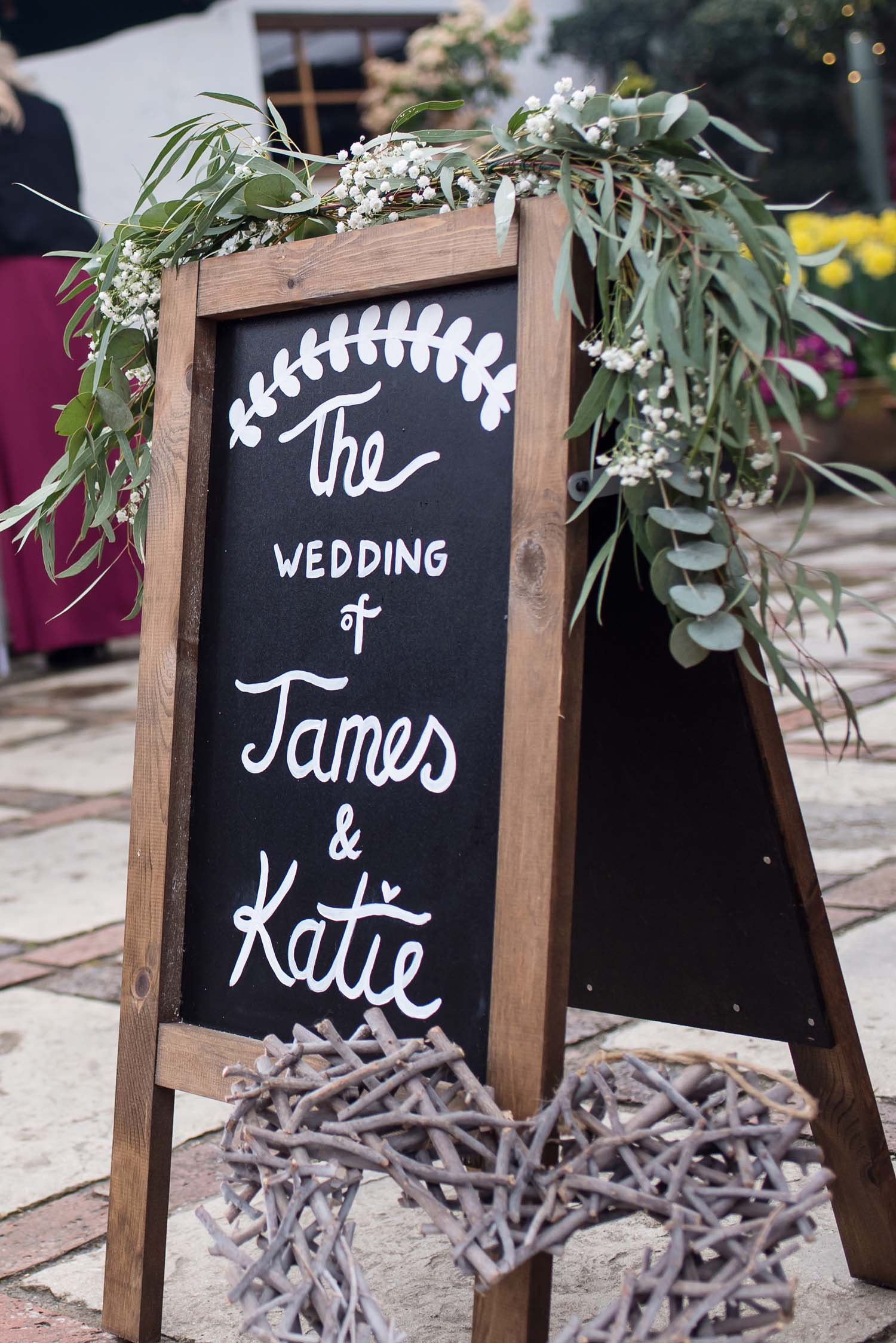 pangdean barn wedding blackboard greenery