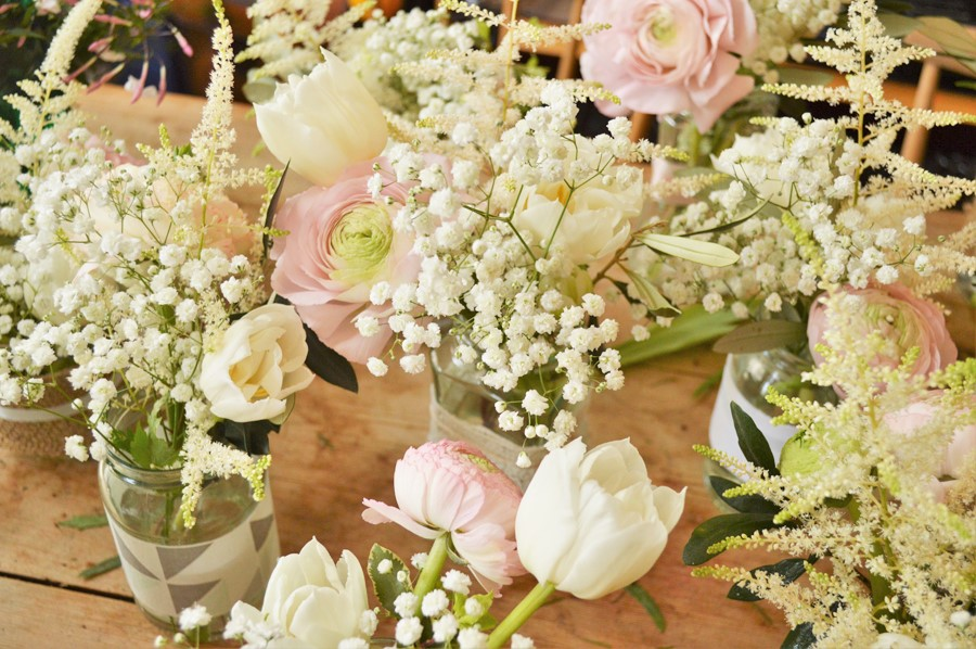 tulips and gypsophilia wedding jars