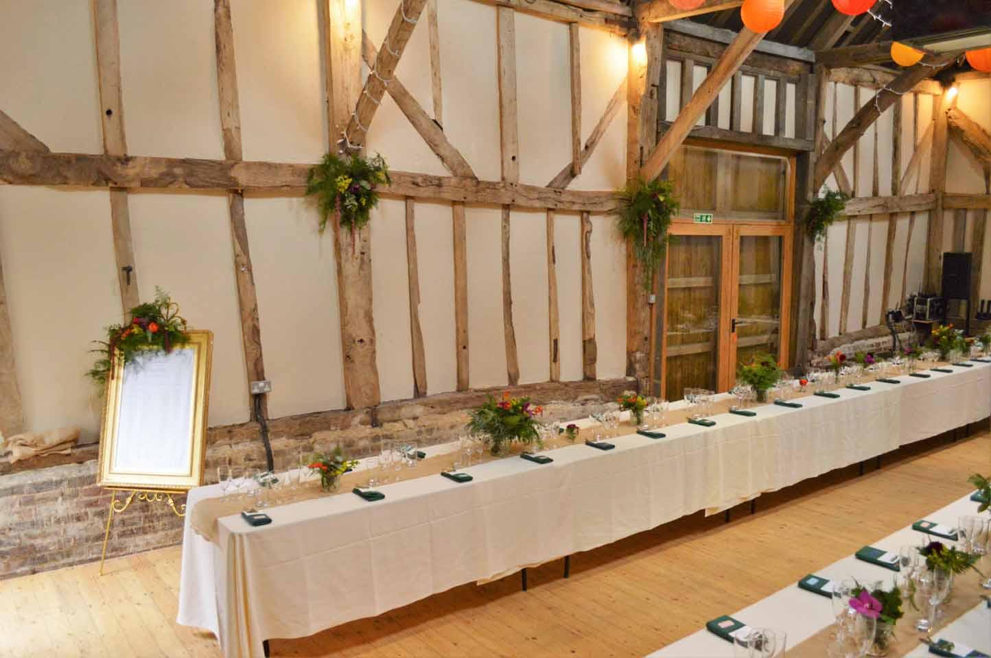 patricks barn wedding set up banquet table