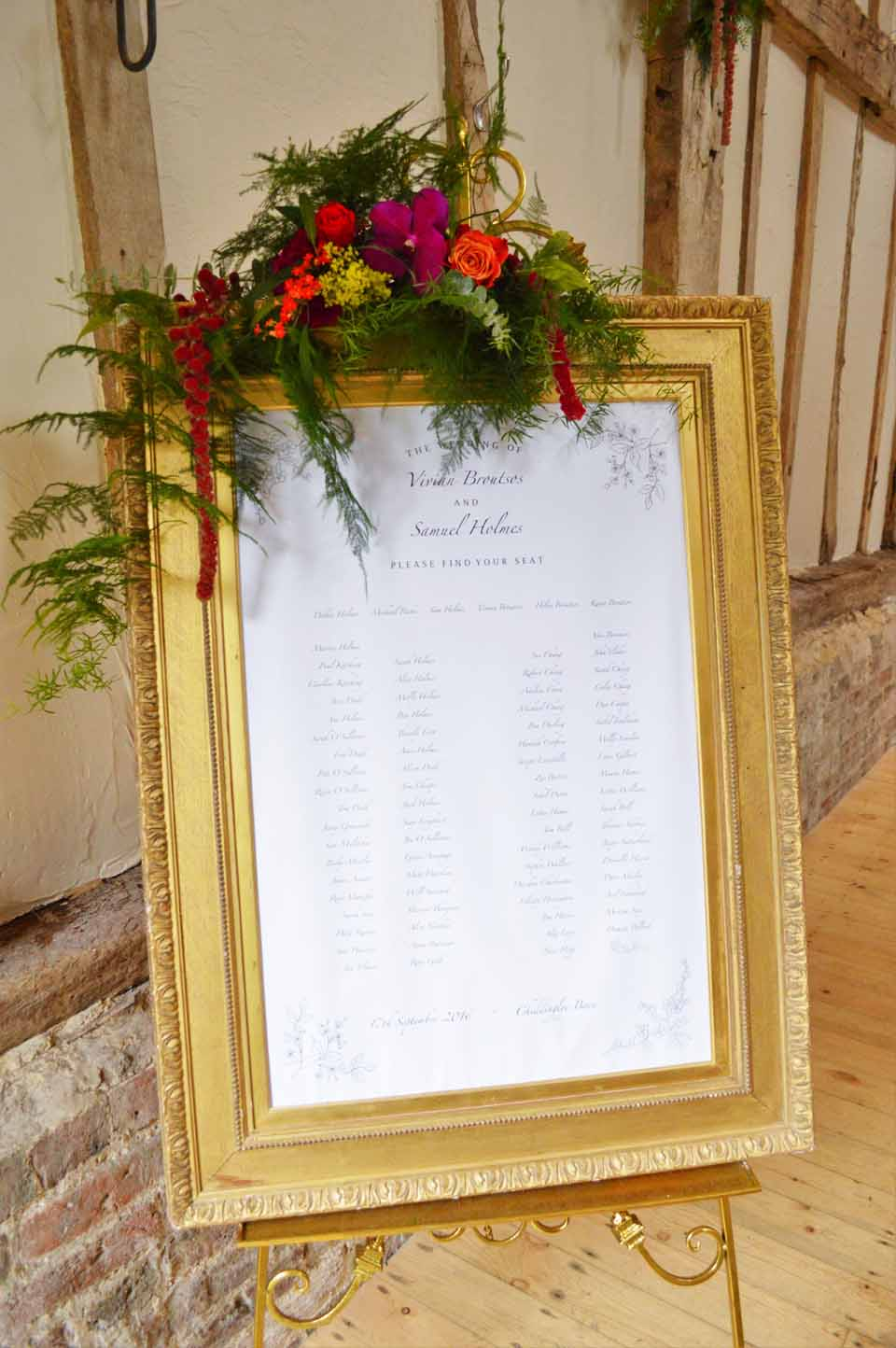 wedding table plan frame with flowers