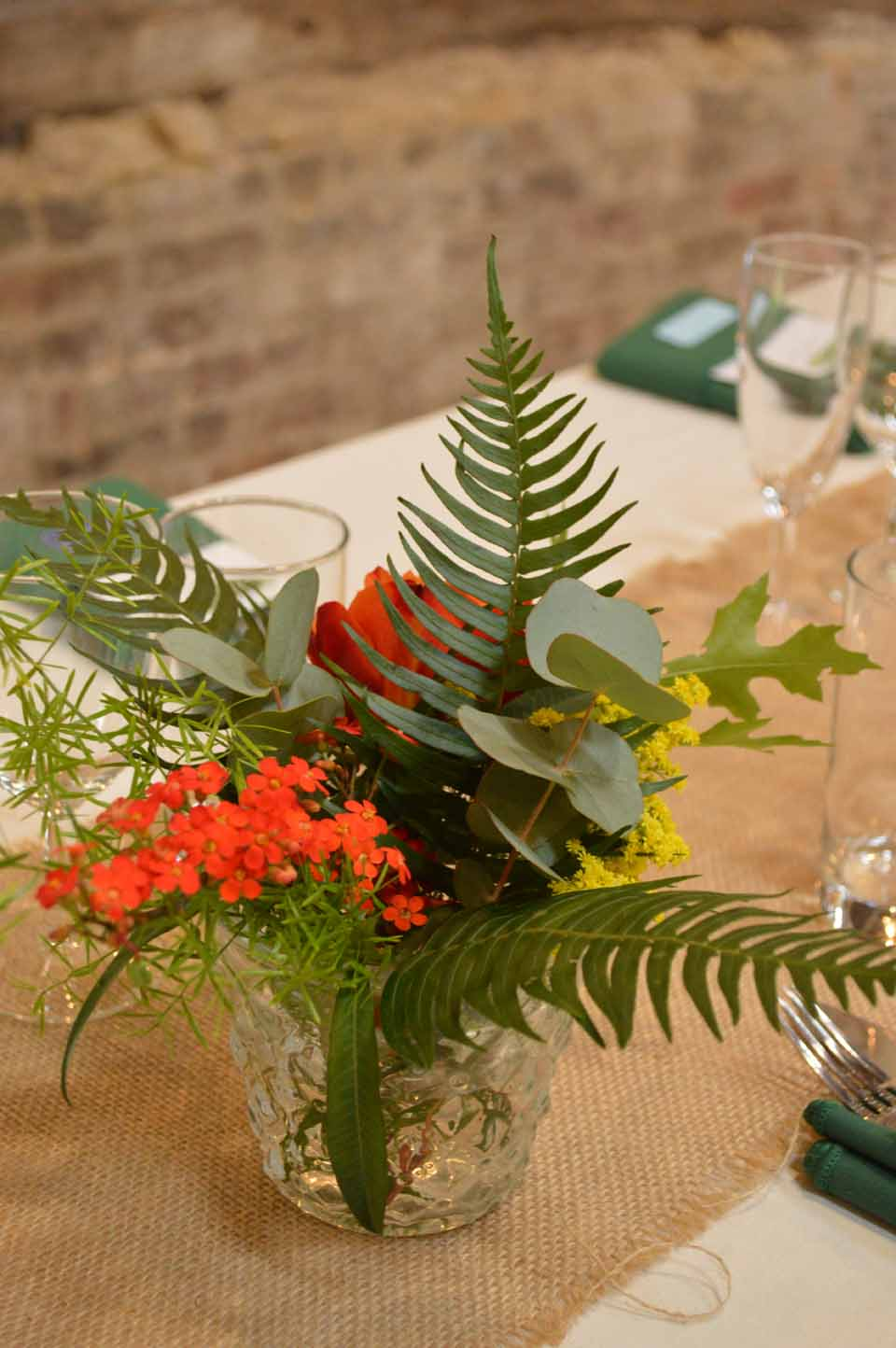 green foliage wedding table flowers