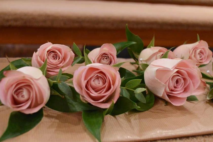 dusky pink rose buttonhole