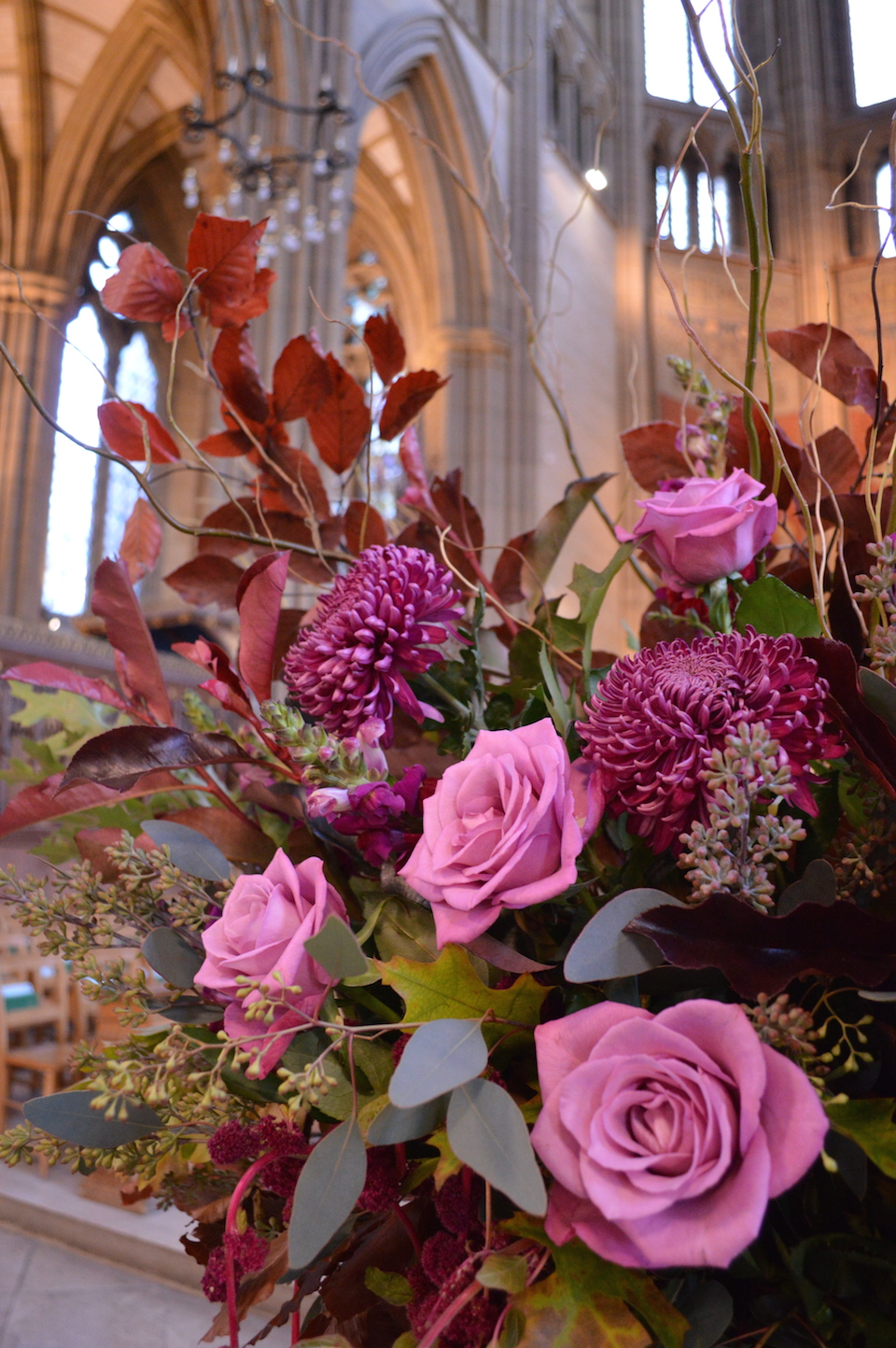 urn arrangement autumn flowers