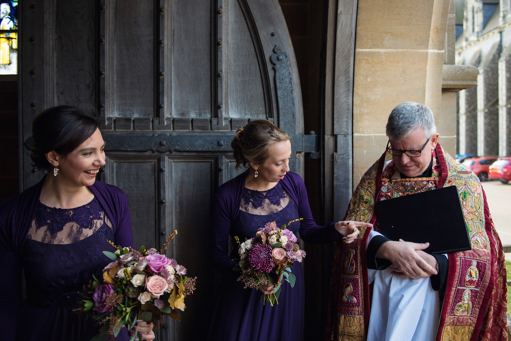 purple bridesmaids flowers