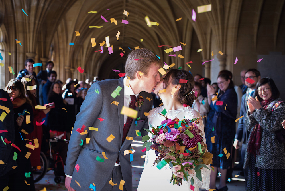 colourful wedding confetti alternative wedding