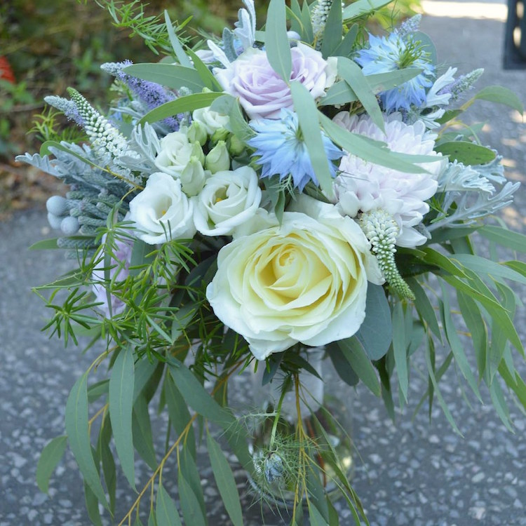 pale blue and cream bridal bouquet, august wedding flowers