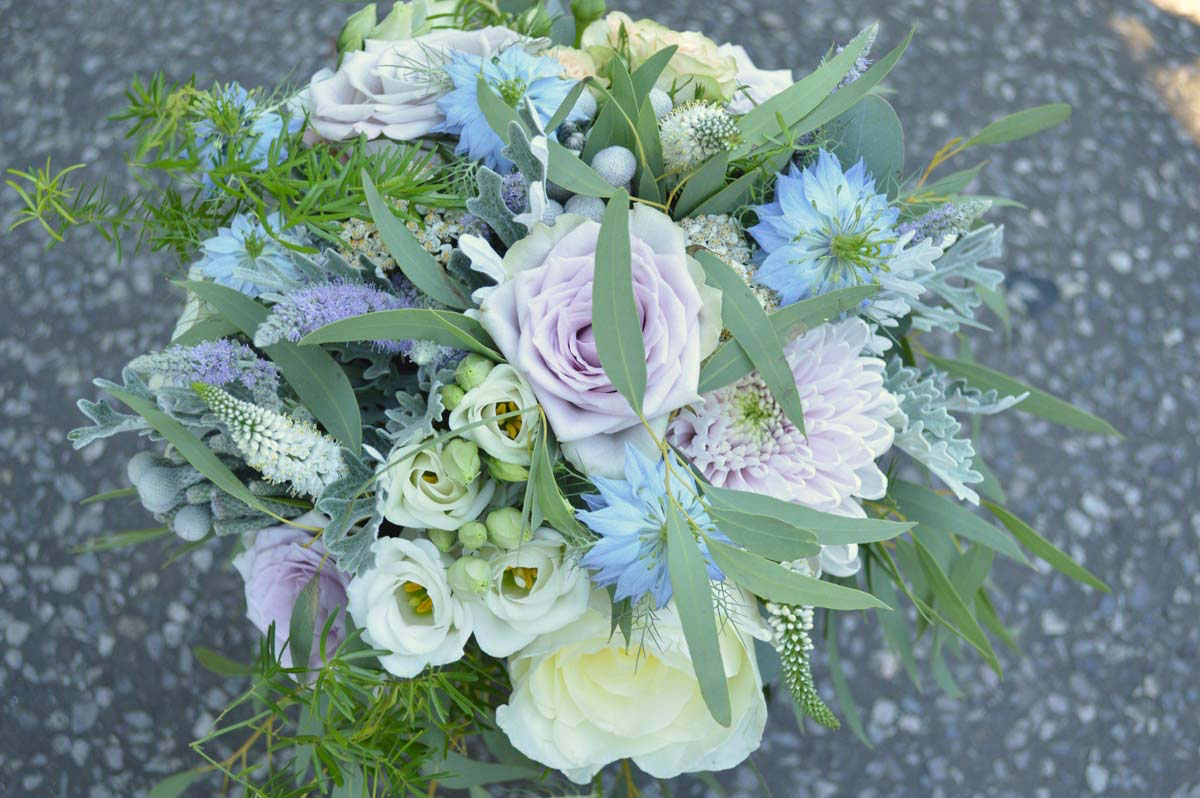 pastel coloured summer bridal bouquet